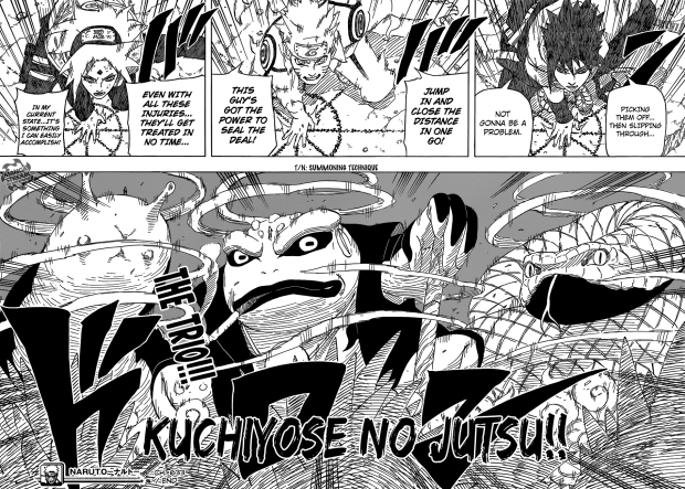 The Frog is apparently Gamagichi and not Gamabunta. I am cool with this especially since Sasuke also no longer has access to the big snake (he died against Deidara, I believe).